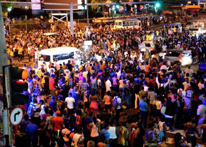 Hundreds of Jamaicans in Half Way Tree celebrating Tessanne's victory on The Voice