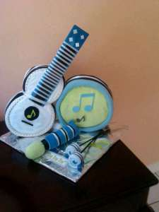 A music band made out of baby items